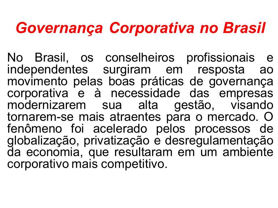 Governança Corporativa no Brasil No Brasil, os conselheiros profissionais e independentes surgiram em resposta ao movimento pelas boas práticas de governança corporativa e à necessidade das empresas modernizarem sua alta gestão, visando tornarem-se mais atraentes para o mercado.