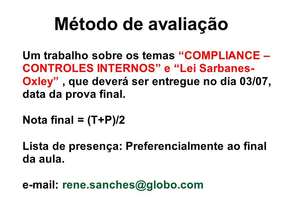 Método de avaliação Um trabalho sobre os temas COMPLIANCE – CONTROLES INTERNOS e Lei Sarbanes- Oxley, que deverá ser entregue no dia 03/07, data da prova final.