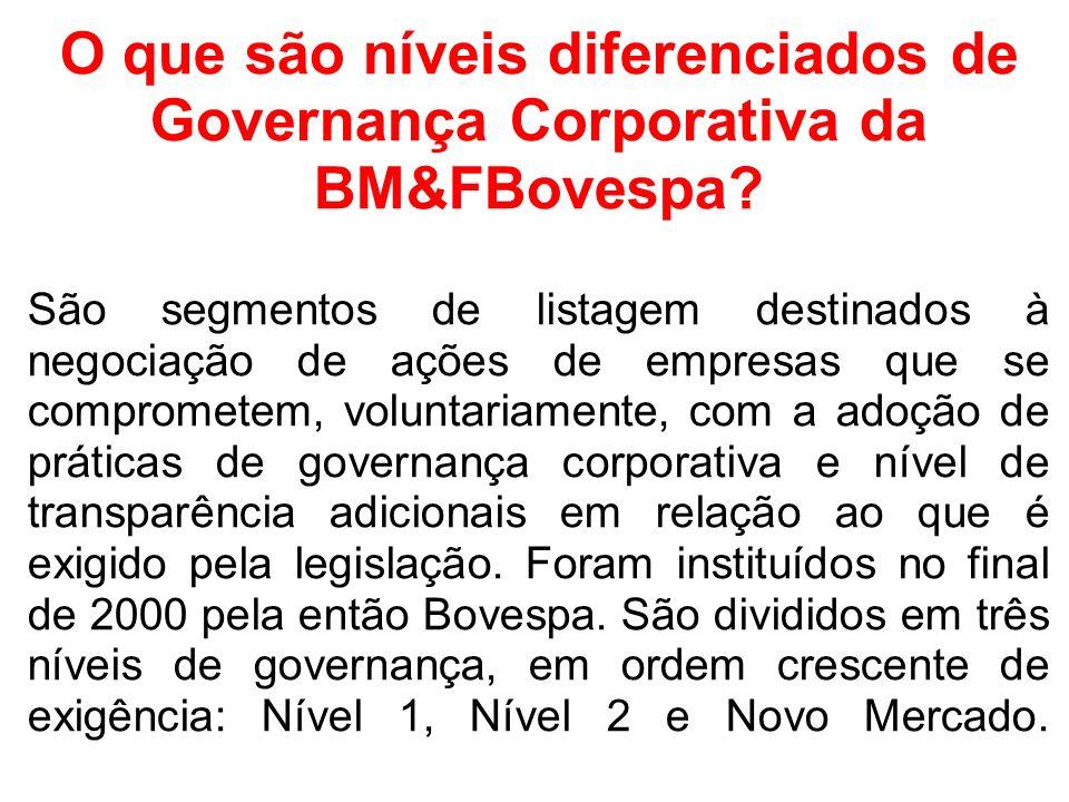 O que são níveis diferenciados de Governança Corporativa da BM&FBovespa? São segmentos de listagem destinados à negociação de ações de empresas que se
