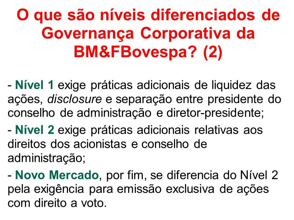 O que são níveis diferenciados de Governança Corporativa da BM&FBovespa.