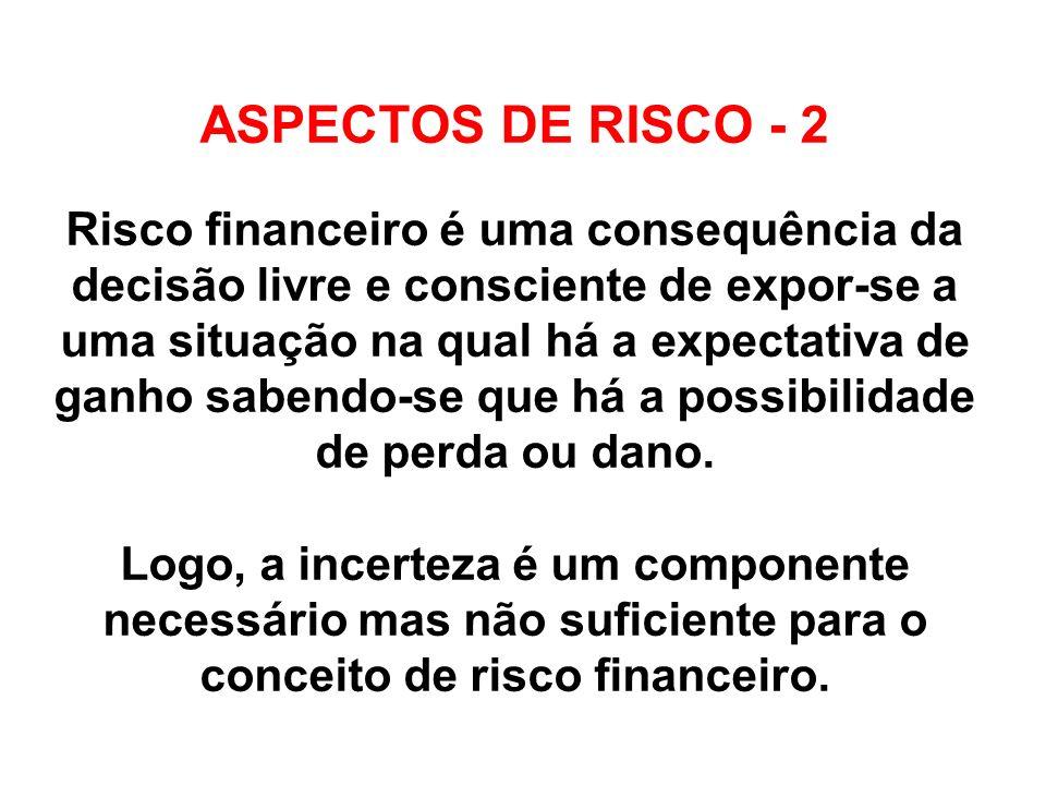 ASPECTOS DE RISCO - 2 Risco financeiro é uma consequência da decisão livre e consciente de expor-se a uma situação na qual há a expectativa de ganho s