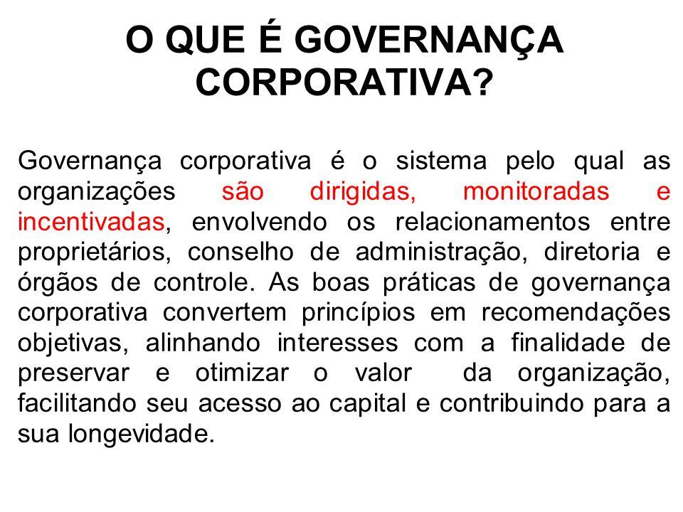 O QUE É GOVERNANÇA CORPORATIVA? Governança corporativa é o sistema pelo qual as organizações são dirigidas, monitoradas e incentivadas, envolvendo os