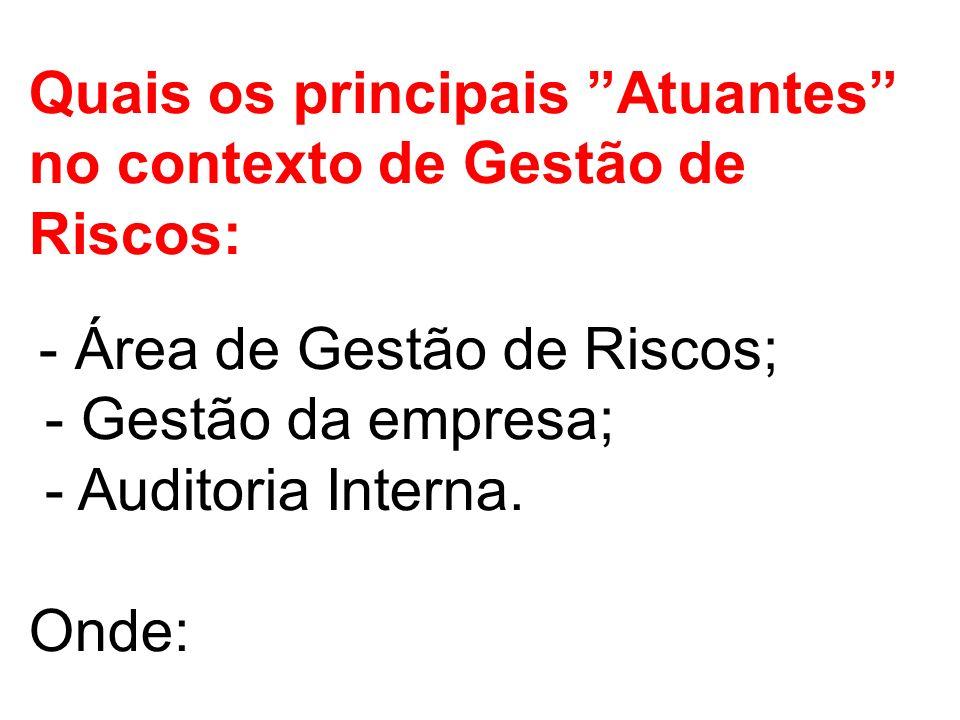 Quais os principais Atuantes no contexto de Gestão de Riscos: - Área de Gestão de Riscos; - Gestão da empresa; - Auditoria Interna.