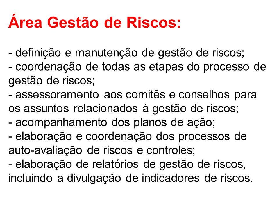 Área Gestão de Riscos: - definição e manutenção de gestão de riscos; - coordenação de todas as etapas do processo de gestão de riscos; - assessorament