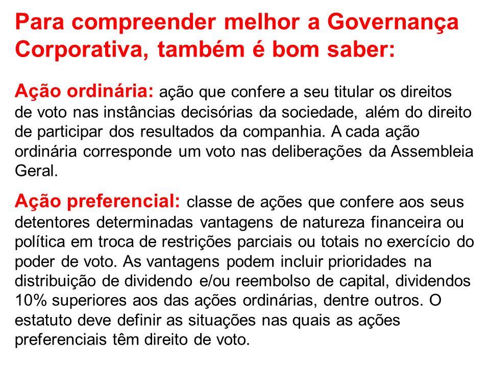 Para compreender melhor a Governança Corporativa, também é bom saber: Ação ordinária: ação que confere a seu titular os direitos de voto nas instância