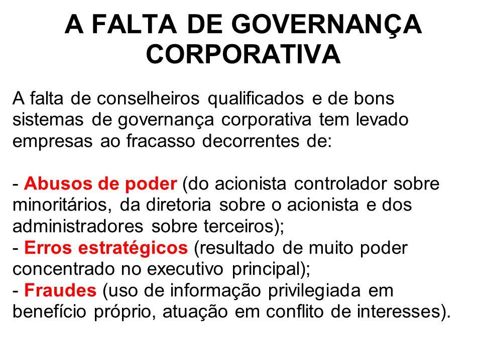 A FALTA DE GOVERNANÇA CORPORATIVA A falta de conselheiros qualificados e de bons sistemas de governança corporativa tem levado empresas ao fracasso de