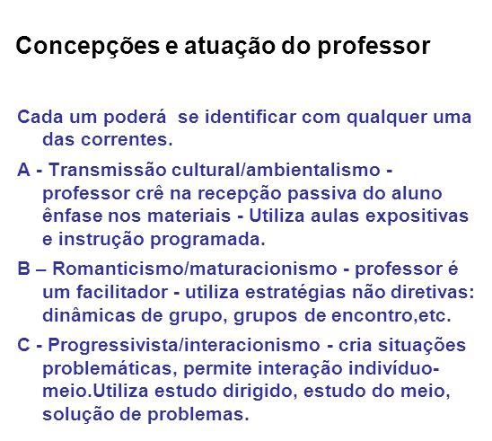 Concepções e atuação do professor Cada um poderá se identificar com qualquer uma das correntes. A - Transmissão cultural/ambientalismo - professor crê