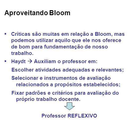 Aproveitando Bloom Críticas são muitas em relação a Bloom, mas podemos utilizar aquilo que ele nos oferece de bom para fundamentação de nosso trabalho