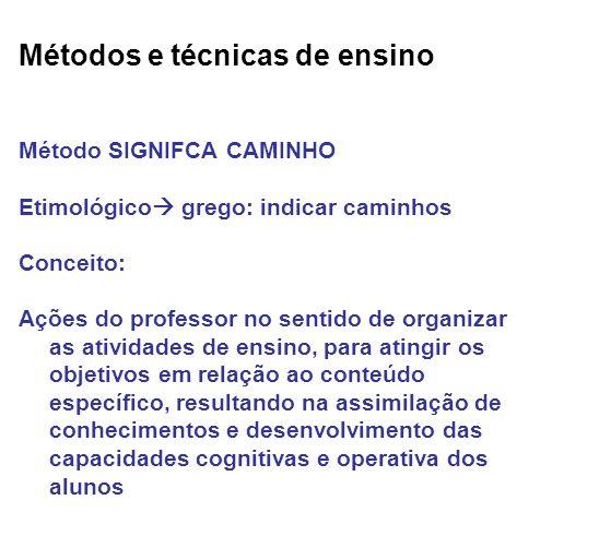 Métodos e técnicas de ensino Método SIGNIFCA CAMINHO Etimológico grego: indicar caminhos Conceito: Ações do professor no sentido de organizar as ativi
