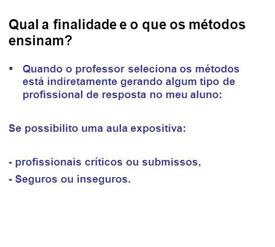 Qual a finalidade e o que os métodos ensinam? Quando o professor seleciona os métodos está indiretamente gerando algum tipo de profissional de respost