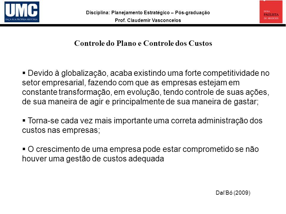 Disciplina: Planejamento Estratégico – Pós-graduação Prof. Claudemir Vasconcelos Controle do Plano e Controle dos Custos Devido à globalização, acaba