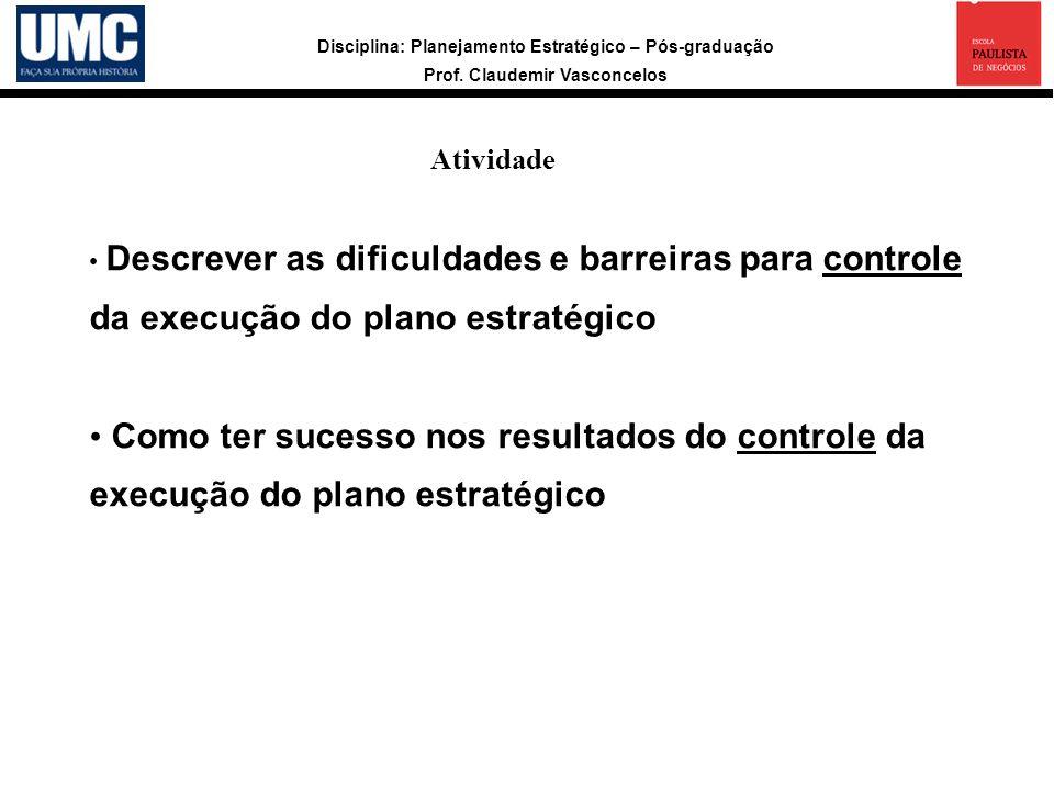 Disciplina: Planejamento Estratégico – Pós-graduação Prof. Claudemir Vasconcelos Atividade a Descrever as dificuldades e barreiras para controle da ex