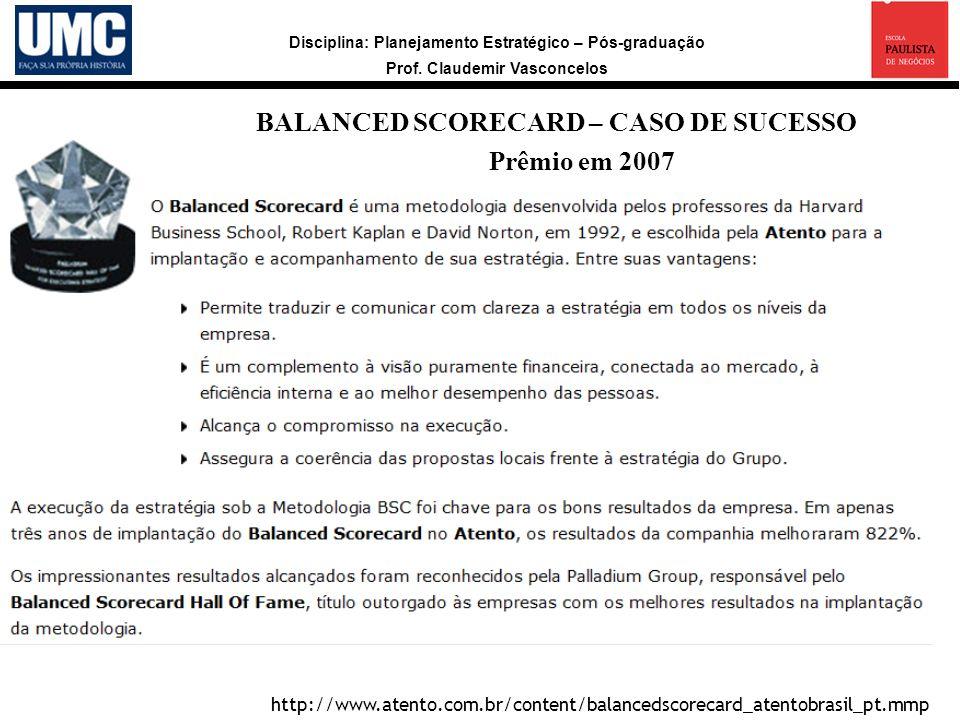 Disciplina: Planejamento Estratégico – Pós-graduação Prof. Claudemir Vasconcelos a http://www.atento.com.br/content/balancedscorecard_atentobrasil_pt.