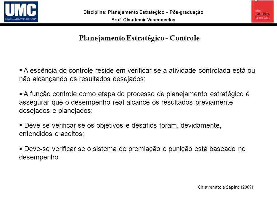 Disciplina: Planejamento Estratégico – Pós-graduação Prof. Claudemir Vasconcelos Planejamento Estratégico - Controle A essência do controle reside em