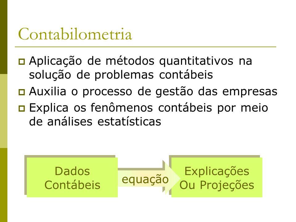 Contabilometria Aplicação de métodos quantitativos na solução de problemas contábeis Auxilia o processo de gestão das empresas Explica os fenômenos co
