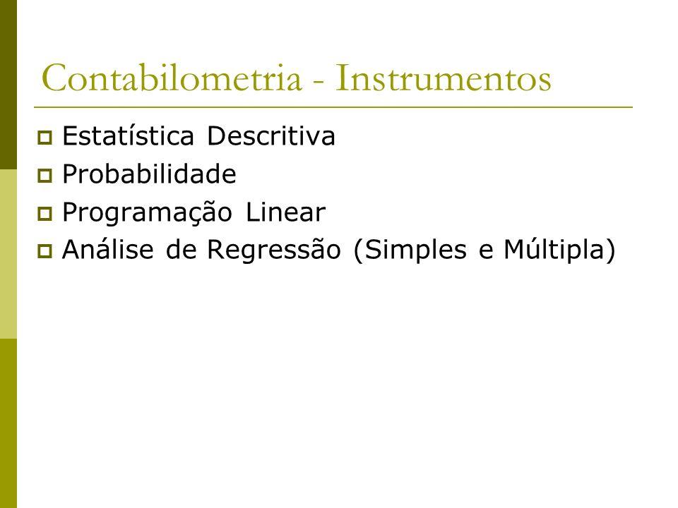 Contabilometria - Instrumentos Estatística Descritiva Probabilidade Programação Linear Análise de Regressão (Simples e Múltipla)