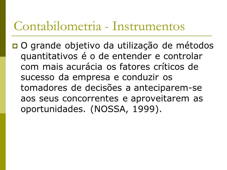 Contabilometria - Instrumentos O grande objetivo da utilização de métodos quantitativos é o de entender e controlar com mais acurácia os fatores críti