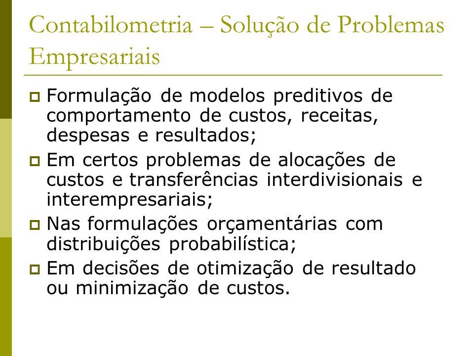 Contabilometria – Solução de Problemas Empresariais Formulação de modelos preditivos de comportamento de custos, receitas, despesas e resultados; Em c