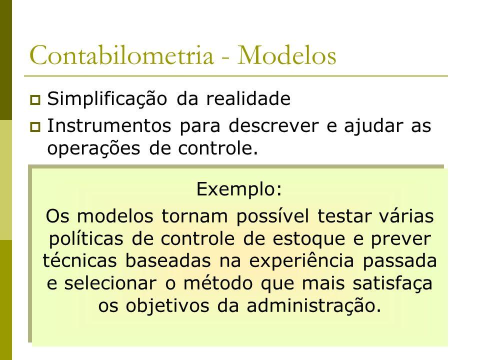Contabilometria - Modelos Simplificação da realidade Instrumentos para descrever e ajudar as operações de controle. Exemplo: Os modelos tornam possíve