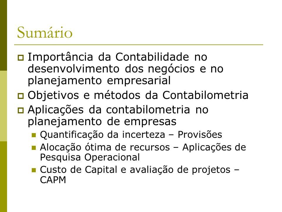 Sumário Importância da Contabilidade no desenvolvimento dos negócios e no planejamento empresarial Objetivos e métodos da Contabilometria Aplicações d