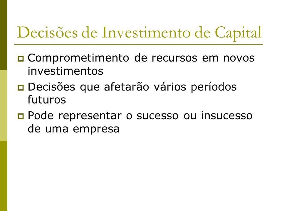 Decisões de Investimento de Capital Comprometimento de recursos em novos investimentos Decisões que afetarão vários períodos futuros Pode representar