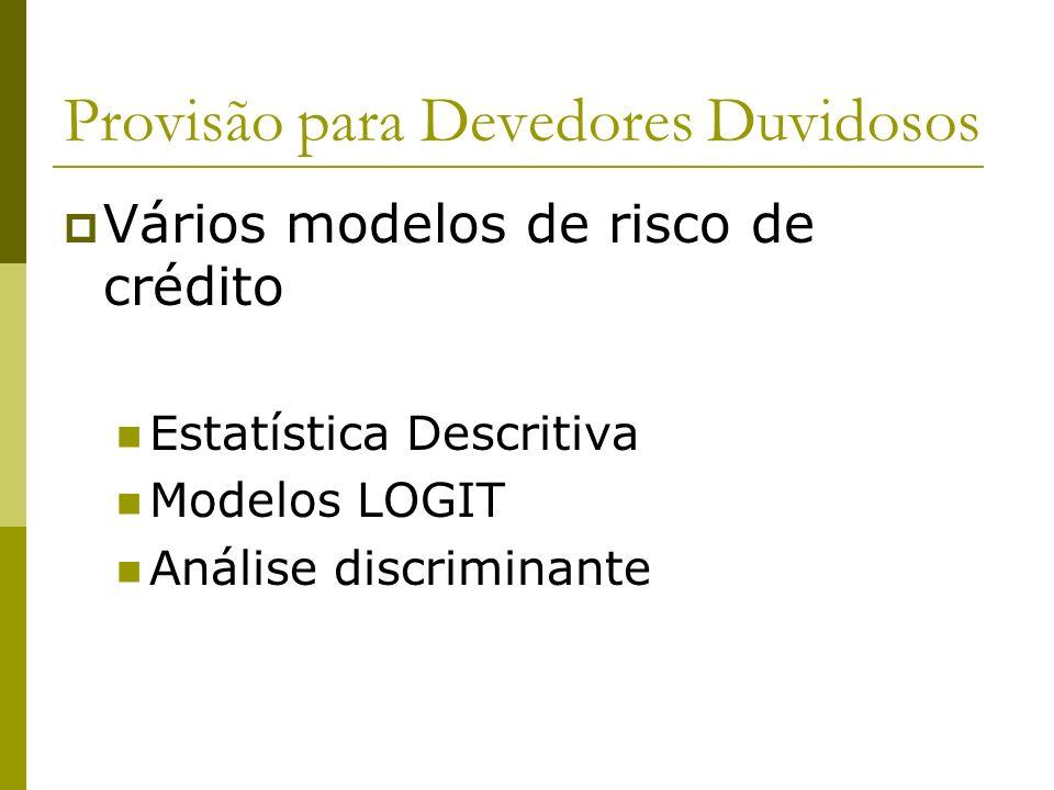 Provisão para Devedores Duvidosos Vários modelos de risco de crédito Estatística Descritiva Modelos LOGIT Análise discriminante