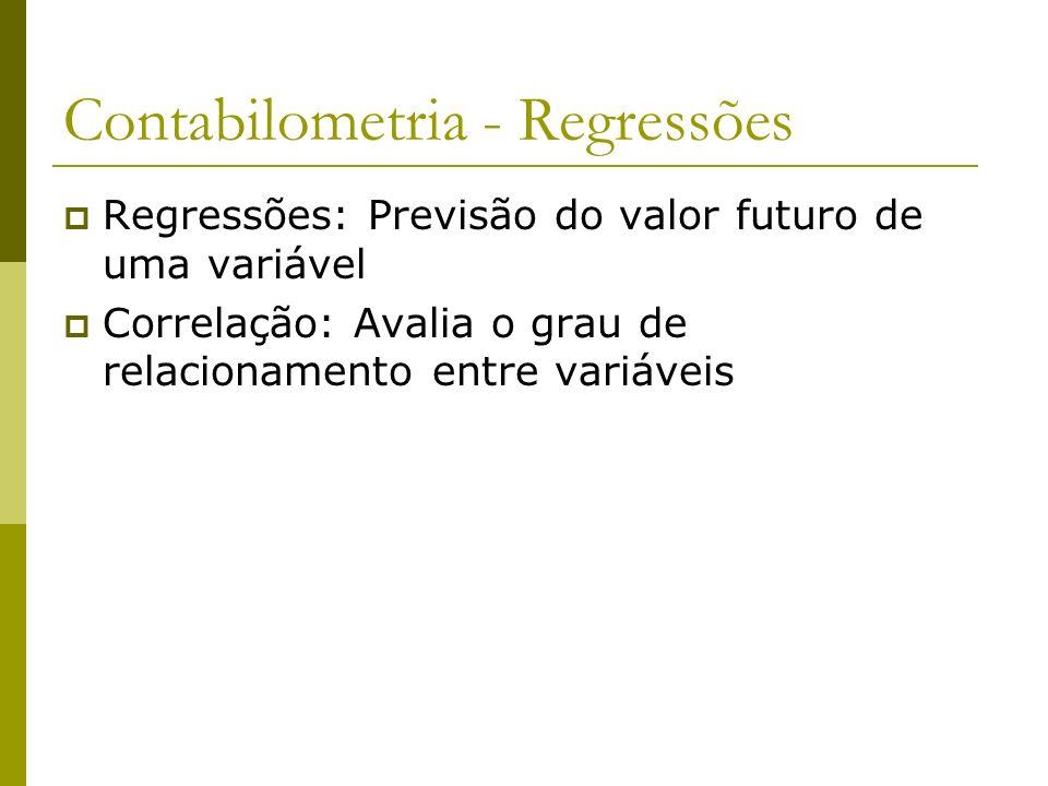 Contabilometria - Regressões Regressões: Previsão do valor futuro de uma variável Correlação: Avalia o grau de relacionamento entre variáveis