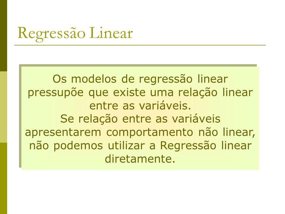 Regressão Linear Os modelos de regressão linear pressupõe que existe uma relação linear entre as variáveis. Se relação entre as variáveis apresentarem