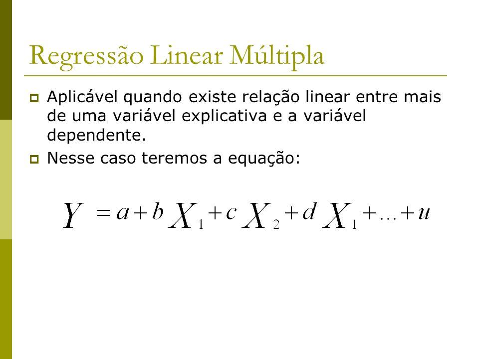 Regressão Linear Múltipla Aplicável quando existe relação linear entre mais de uma variável explicativa e a variável dependente. Nesse caso teremos a