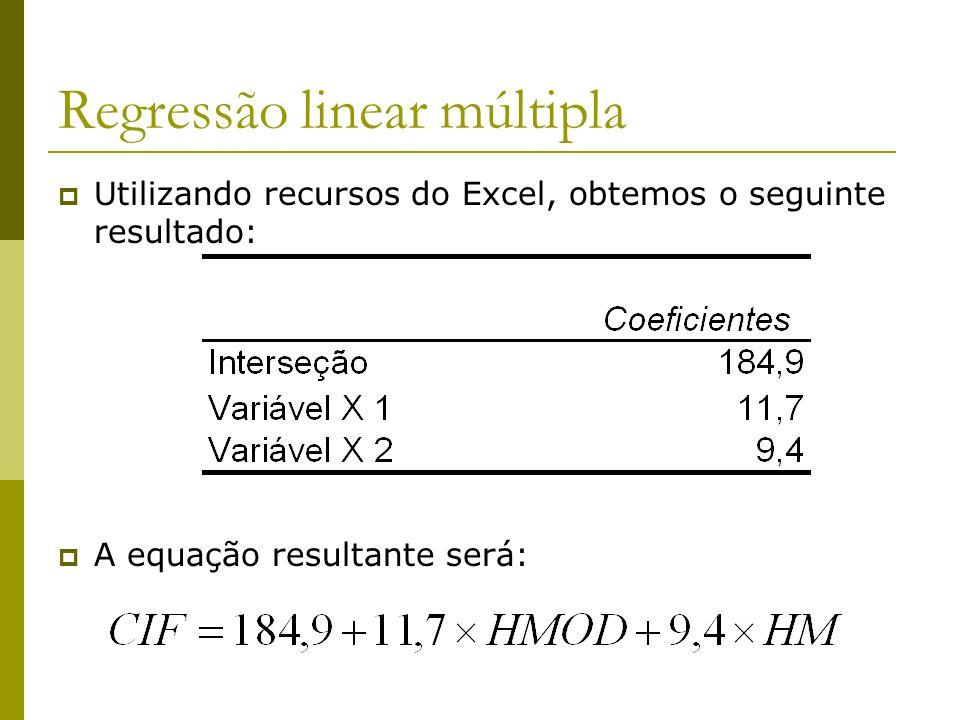 Regressão linear múltipla Utilizando recursos do Excel, obtemos o seguinte resultado: A equação resultante será: