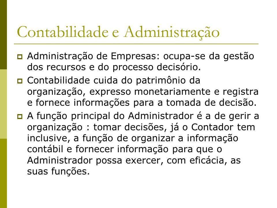 Contabilidade e Administração Administração de Empresas: ocupa-se da gestão dos recursos e do processo decisório. Contabilidade cuida do patrimônio da