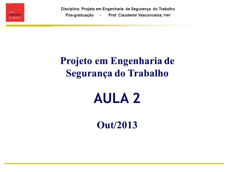 Disciplina: Projeto em Engenharia de Segurança do Trabalho Pós-graduação - Prof. Claudemir Vasconcelos, PMP Projeto em Engenharia de Segurança do Trab