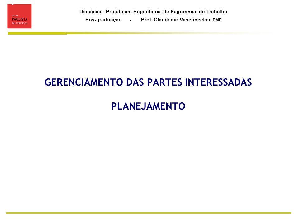 Disciplina: Projeto em Engenharia de Segurança do Trabalho Pós-graduação - Prof. Claudemir Vasconcelos, PMP GERENCIAMENTO DAS PARTES INTERESSADAS PLAN