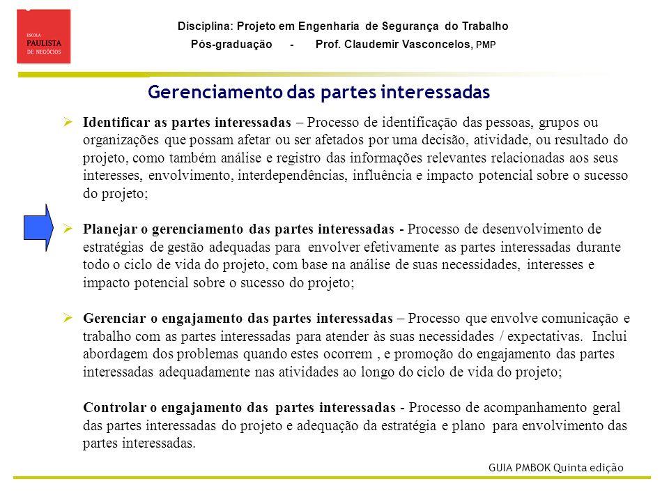 Disciplina: Projeto em Engenharia de Segurança do Trabalho Pós-graduação - Prof. Claudemir Vasconcelos, PMP Gerenciamento das partes interessadas GUIA