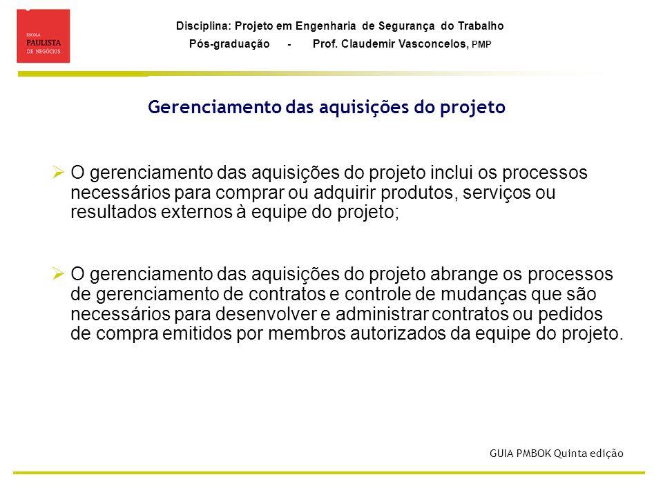 Disciplina: Projeto em Engenharia de Segurança do Trabalho Pós-graduação - Prof. Claudemir Vasconcelos, PMP Gerenciamento das aquisições do projeto GU