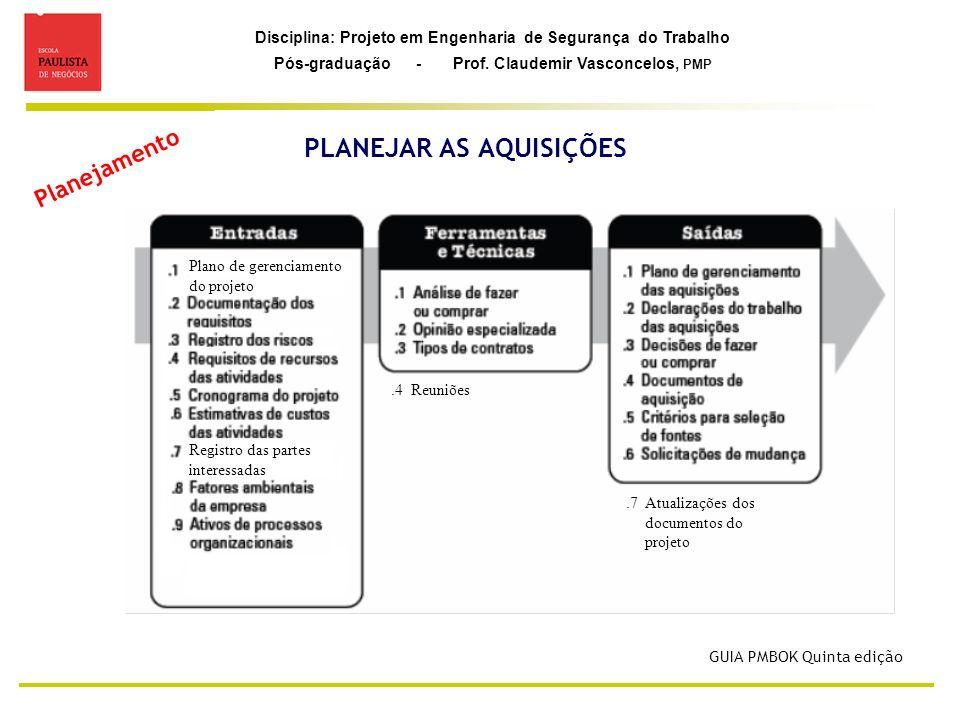 Disciplina: Projeto em Engenharia de Segurança do Trabalho Pós-graduação - Prof. Claudemir Vasconcelos, PMP PLANEJAR AS AQUISIÇÕES Planejamento Plano