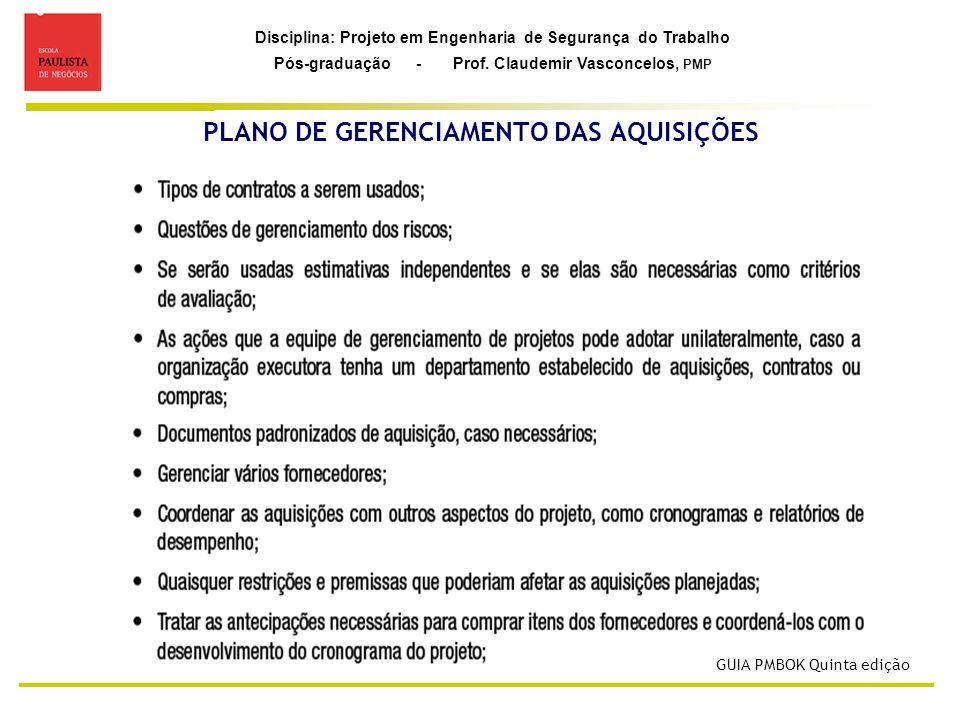 Disciplina: Projeto em Engenharia de Segurança do Trabalho Pós-graduação - Prof. Claudemir Vasconcelos, PMP PLANO DE GERENCIAMENTO DAS AQUISIÇÕES GUIA