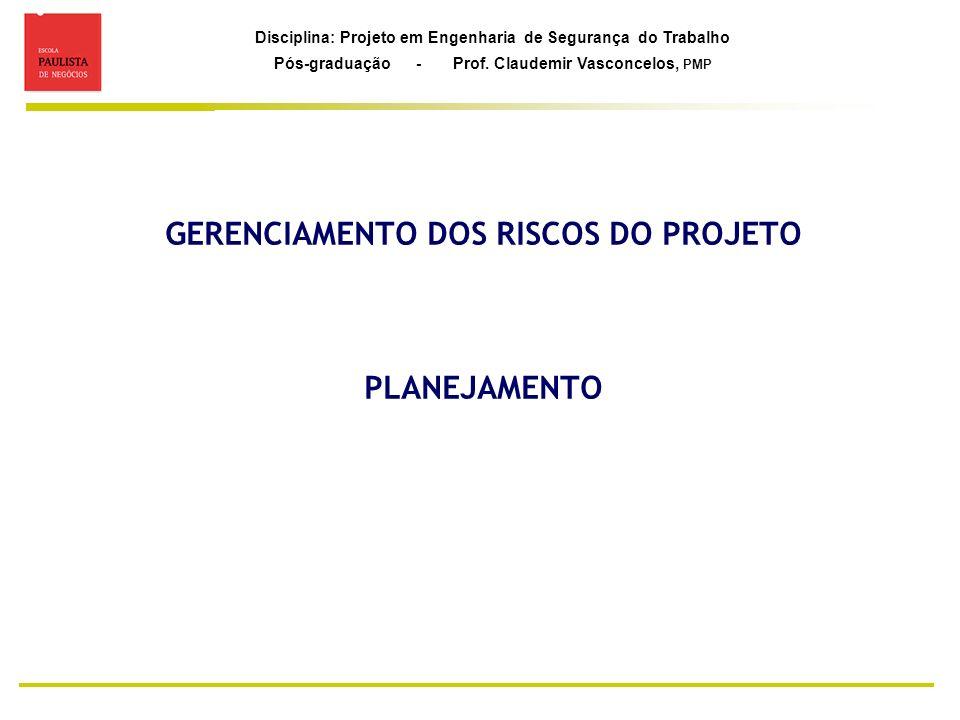 Disciplina: Projeto em Engenharia de Segurança do Trabalho Pós-graduação - Prof. Claudemir Vasconcelos, PMP GERENCIAMENTO DOS RISCOS DO PROJETO PLANEJ