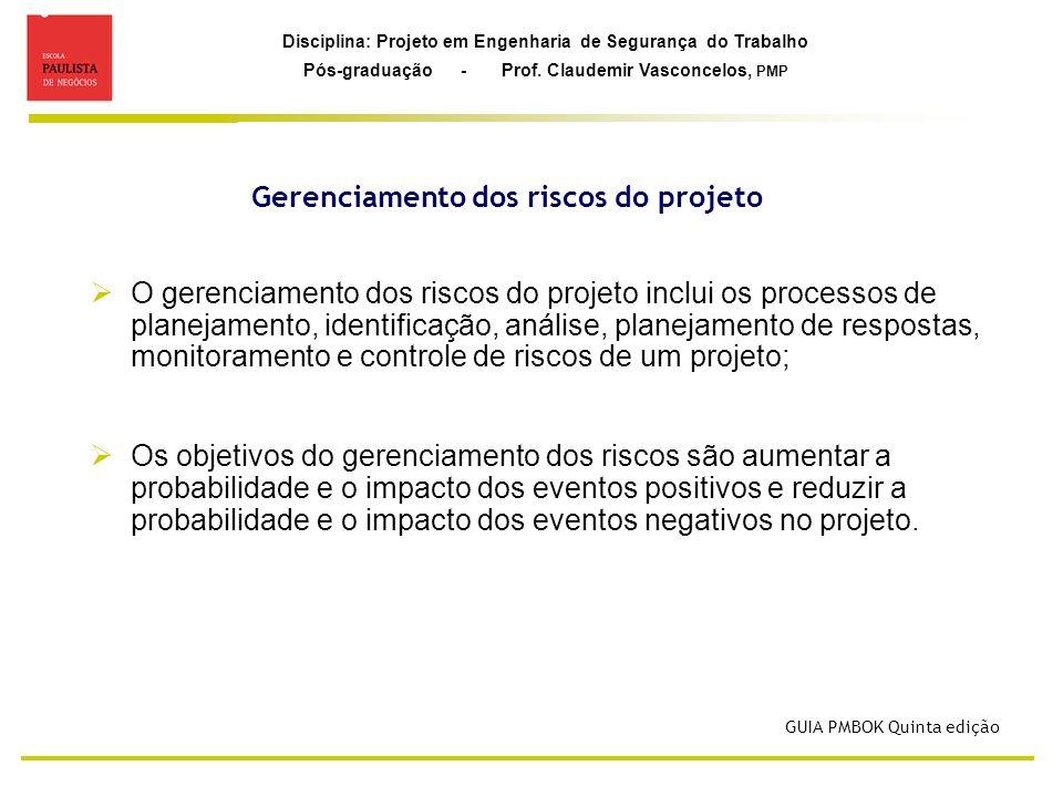 Disciplina: Projeto em Engenharia de Segurança do Trabalho Pós-graduação - Prof. Claudemir Vasconcelos, PMP Gerenciamento dos riscos do projeto O gere