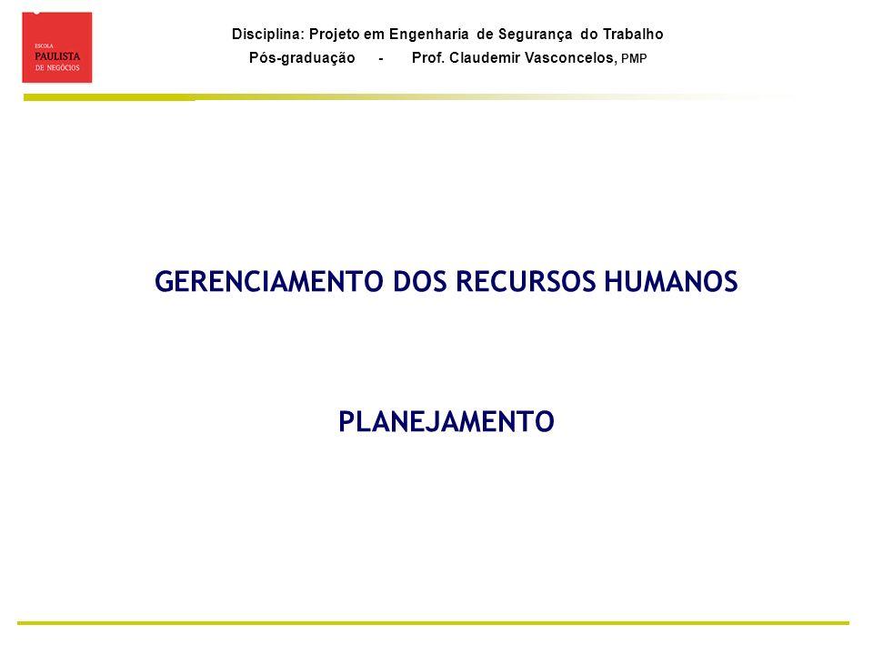 Disciplina: Projeto em Engenharia de Segurança do Trabalho Pós-graduação - Prof. Claudemir Vasconcelos, PMP GERENCIAMENTO DOS RECURSOS HUMANOS PLANEJA