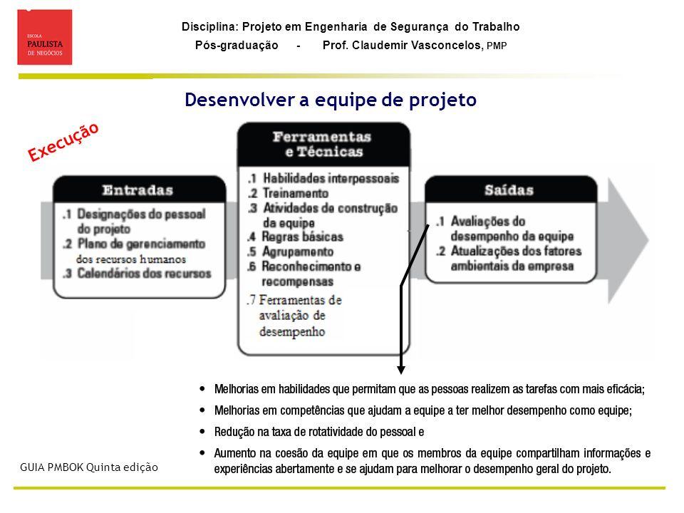 Disciplina: Projeto em Engenharia de Segurança do Trabalho Pós-graduação - Prof. Claudemir Vasconcelos, PMP Desenvolver a equipe de projeto GUIA PMBOK