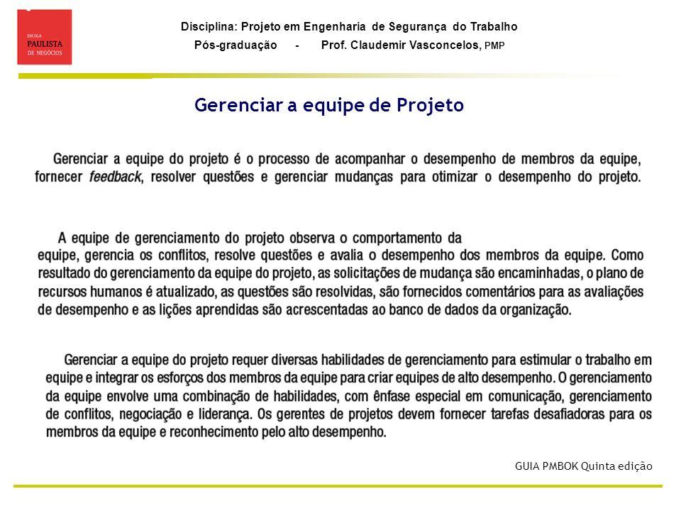 Disciplina: Projeto em Engenharia de Segurança do Trabalho Pós-graduação - Prof. Claudemir Vasconcelos, PMP Gerenciar a equipe de Projeto GUIA PMBOK Q