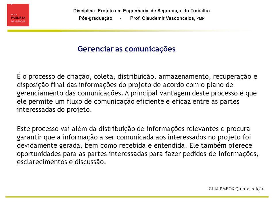 Disciplina: Projeto em Engenharia de Segurança do Trabalho Pós-graduação - Prof. Claudemir Vasconcelos, PMP Gerenciar as comunicações GUIA PMBOK Quint