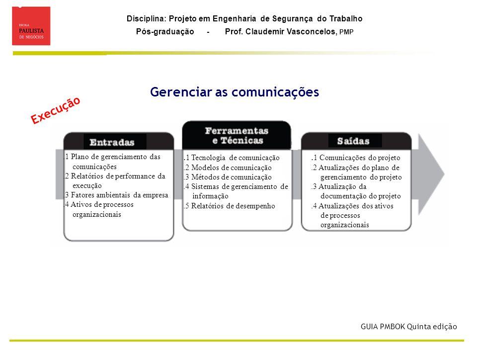 Disciplina: Projeto em Engenharia de Segurança do Trabalho Pós-graduação - Prof. Claudemir Vasconcelos, PMP Gerenciar as comunicações Execução GUIA PM