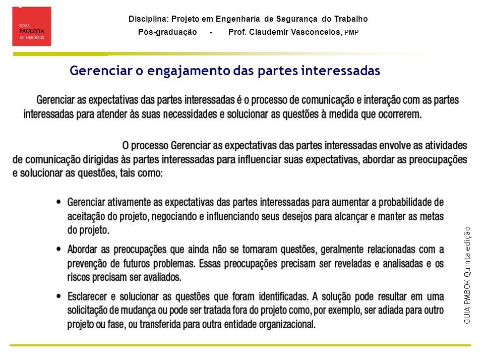 Disciplina: Projeto em Engenharia de Segurança do Trabalho Pós-graduação - Prof. Claudemir Vasconcelos, PMP Gerenciar o engajamento das partes interes