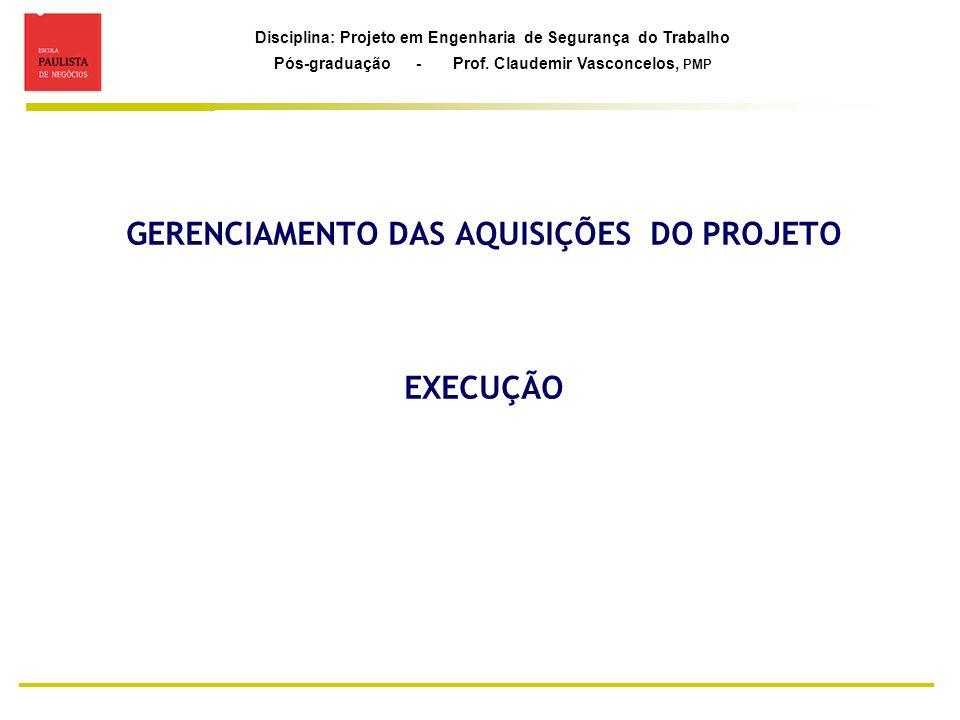 Disciplina: Projeto em Engenharia de Segurança do Trabalho Pós-graduação - Prof. Claudemir Vasconcelos, PMP GERENCIAMENTO DAS AQUISIÇÕES DO PROJETO EX