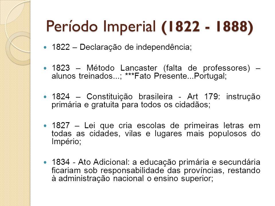 Período Imperial (1822 - 1888) 1822 – Declaração de independência; 1823 – Método Lancaster (falta de professores) – alunos treinados...; ***Fato Prese