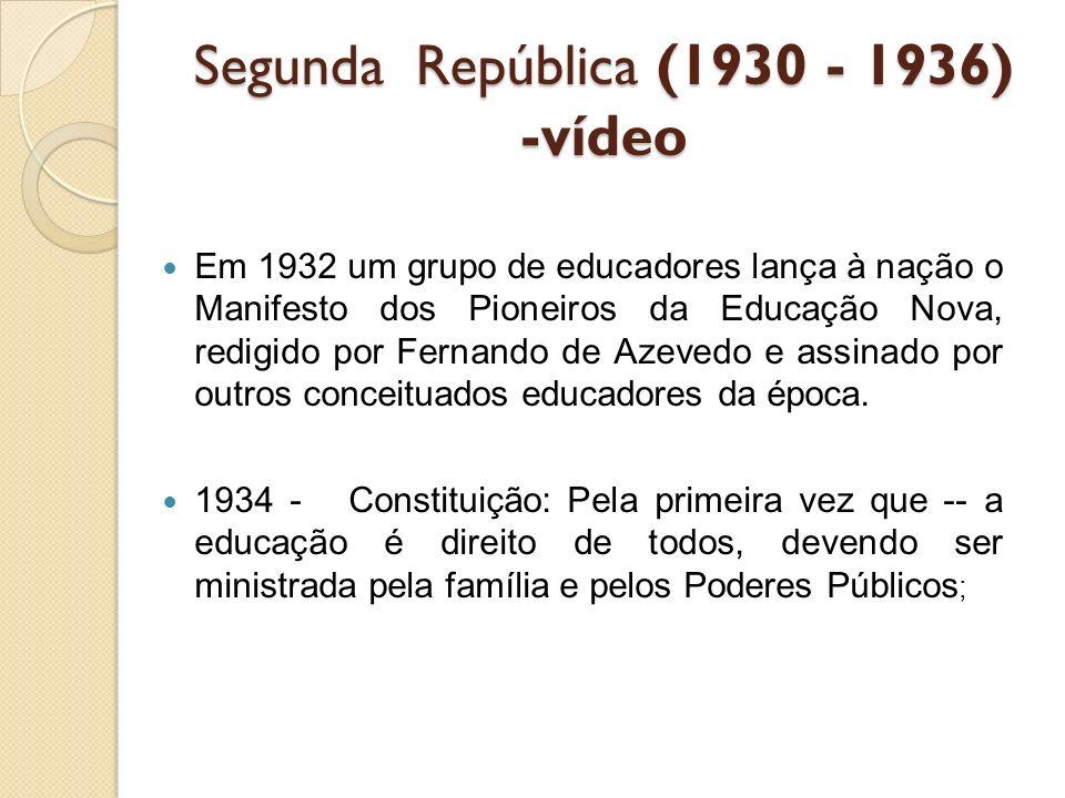 Estado Novo -1937 -1945 O ensino composto por cinco anos de curso primário, quatro de curso ginasial e três de colegial, podendo ser na modalidade clássico ou científico; 1937 - Estado Novo: enfatiza o ensino pré- vocacional e profissional.