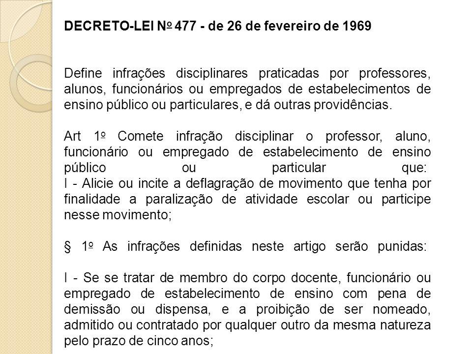 DECRETO-LEI N o 477 - de 26 de fevereiro de 1969 Define infrações disciplinares praticadas por professores, alunos, funcionários ou empregados de esta
