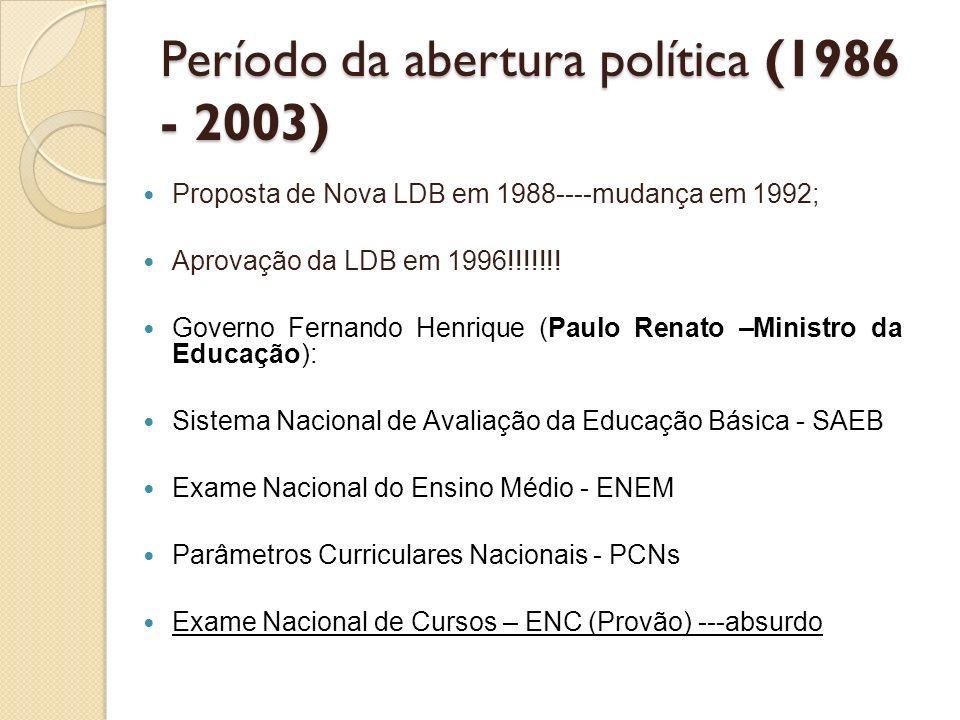 Período da abertura política (1986 - 2003) Proposta de Nova LDB em 1988----mudança em 1992; Aprovação da LDB em 1996!!!!!!! Governo Fernando Henrique